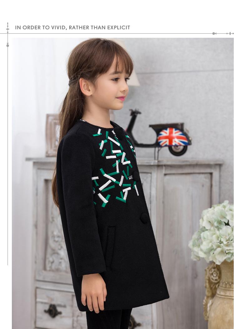 3f7a43ccd004f 韓国子供服 女の子 ダッフルコート ロング丈 秋冬 刺繍 可愛い アウター コート キッズ ジュニア